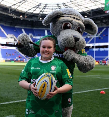 HARRISON, NJ - MARCH 12: The London Irish mascot poses for a picture during the Aviva Premiership match between London Irish and Saracens on March 12, 2016 at Red Bull Arena in Harrison, New Jersey. (Photo by Elsa/Getty Images)