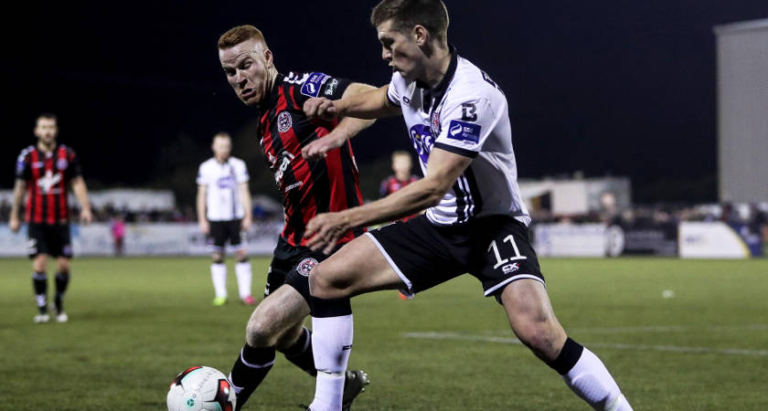 Dundalk's Patrick McEleney with Lorcan Fitzgerald of Bohemians [©INPHO/Tommy Dickson]