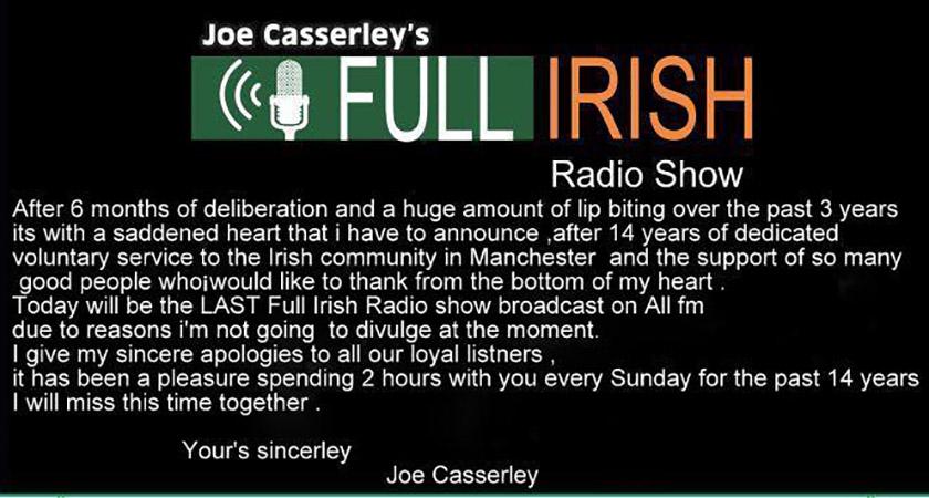 Joe Casserley's statement [Picture: Full Irish]
