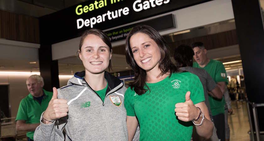 Team Ireland Depart For Rio 2016 Olympic Games, Dublin Airport 28/7/2016 Ciara Mageean and Sara Treacy Mandatory Credit ©INPHO/Dan Sheridan