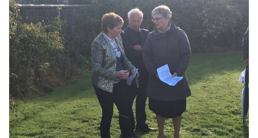 Senator Katherine Zappone, right, and Catherine Corless, left, at the site of the mass grave in Tuam Co. Galway. (Source: Pat McGrath/Twitter)