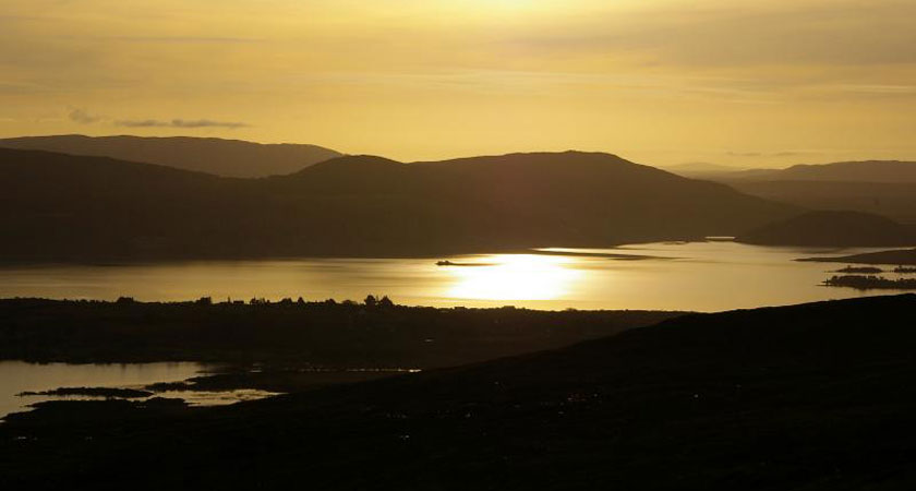 The sun sets over Lough Corrib