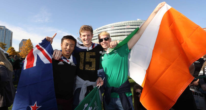 Fans of both teams in harmony before the match outside Soldier Field [©INPHO/Billy Stickland]