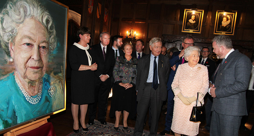 The Queen with Colin Davidson at the unveiling of the artist's portrait [Picture: Joanne O'Brien]