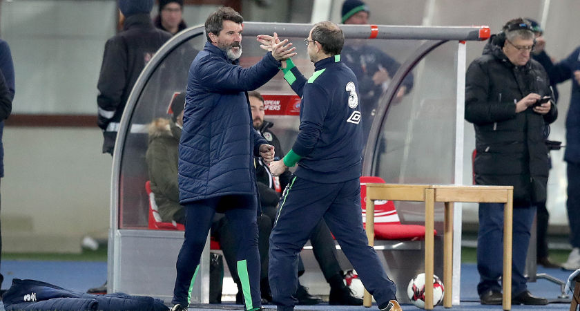 Ireland Manager Martin O'Neill celebrates with assistant manager Roy Keane at the final whistle  [©INPHO/Ryan Byrne]