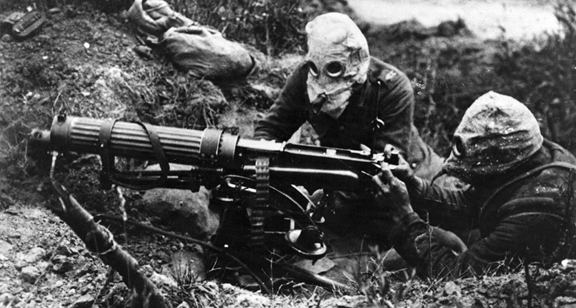 Gas-masked machine gunners of the British Army at the Somme [Picture: Getty]