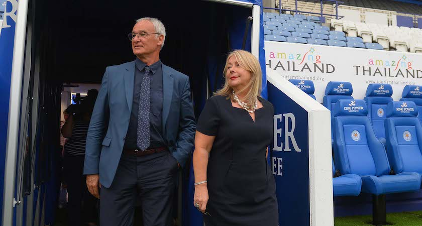 LEICESTER, ENGLAND - JULY 20: Leicester manager Claudio Ranieri looks on with chief executive Susan Whelan at the King Power Stadium on July 20, 2015 in Leicester, England. (Photo by Michael Regan/Getty Images)