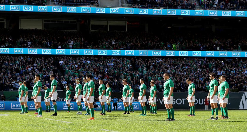 The Ireland team during the Haka [©INPHO/Dan Sheridan]
