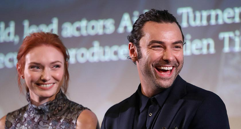 Aidan Turner and fellow Poldark actor Eleanor Tomlinson [Picture: Chris Jackson/Getty Images]