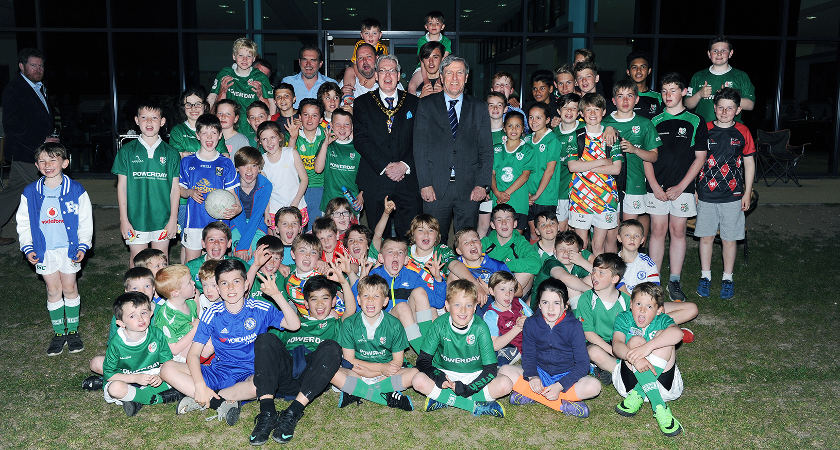 Irish Ambassador Dan Mulhall and the Mayor of Spelthorne Borough Council Cllr Mark Francis and his wife Catherine are pictured with youngsters of Gael Londain [Picture: Mal McNally]