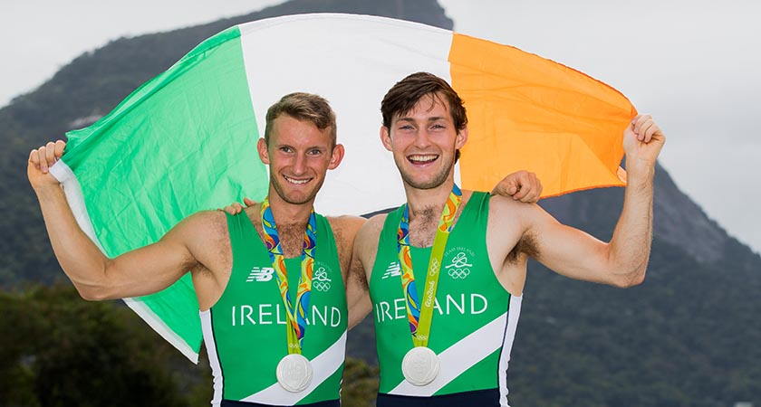 Rio 2016 Olympic Games Day 7, Rio de Janeiro, Brazil 12/8/2016 Rowing - Men's Lightweight Double Sculls Final Ireland's Gary and Paul O'Donovan celebrate winning a silver medal Mandatory Credit ©INPHO/Morgan Treacy