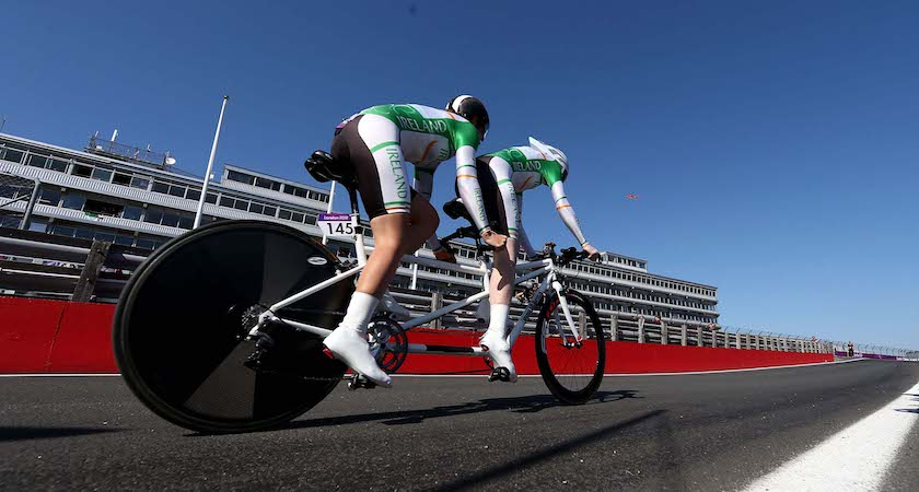 LONGFIELD, ENGLAND - SEPTEMBER 05: Katie George Dunlevy and Sandra Fitzgerald of Ireland compete in the Women's Individual B Time Trial on day 7 of the London 2012 Paralympic Games at Brands Hatch on September 5, 2012 in Longfield, England. (Photo by Clive Rose/Getty Images)
