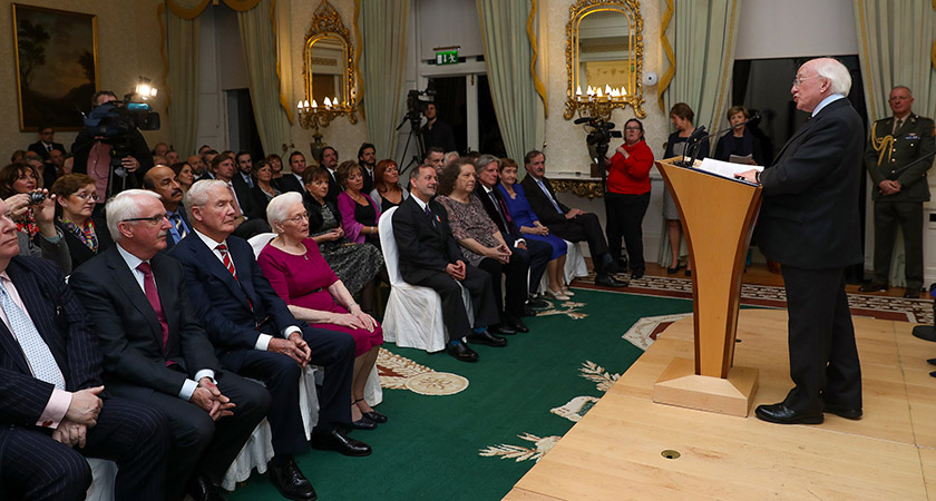 President Higgins addresses those gathered at Áras an Uachtaráin [Picture: Maxwell Photography]