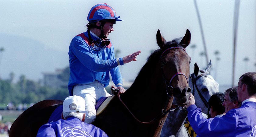 6 NOV 1993: Walter Swinburn aboard Sayyedati, trained by Clive Brittain after the $1,000,000 1993 Breeders Cup Sprint at Santa Anita race track, Arcadia, CA. Mandatory Credit: J.D. Cuban/ALLSPORT