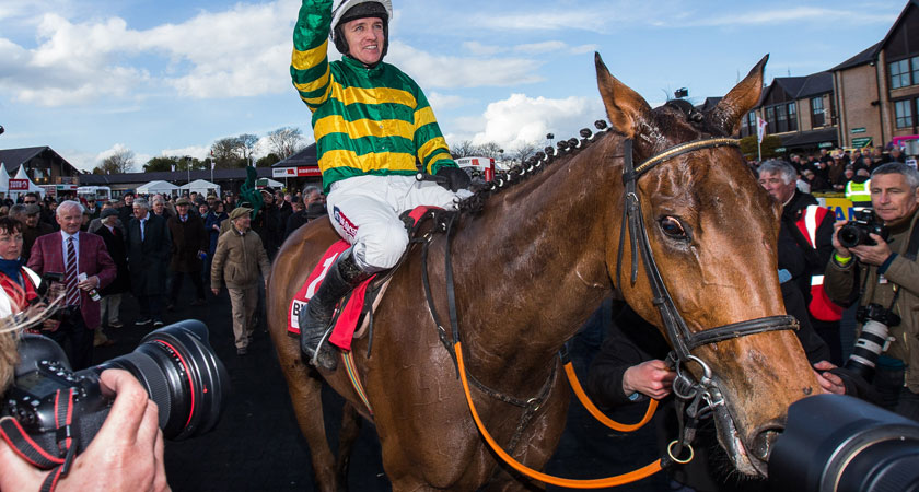 Barry Geraghty with Carlingford Lough celebrates after winning the Punchestown Gold Cup (Image: INPHO/Cathal Noonan)