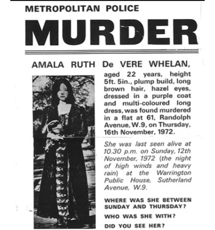 The original 1972 listing for information about Amala Whelan's murder. (Picture: Met Police)