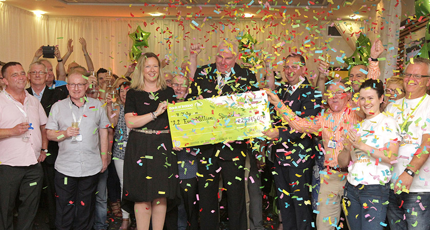 7/7/2016 Dublin Bus Euromillions Winners. 22 men from Dublin Bus who scooped last Friday's eur 23,845,060 Euromillions prize at the National Lottery on Abbey Street today to claim their winnings. The group, from the Broadstone bus depot in Phibsborough, north Dublin, travelled to Abbey Street on a Dublin Bus which had 'Winners on board' plastered across the doors and windows. Photo: RollingNews.ie