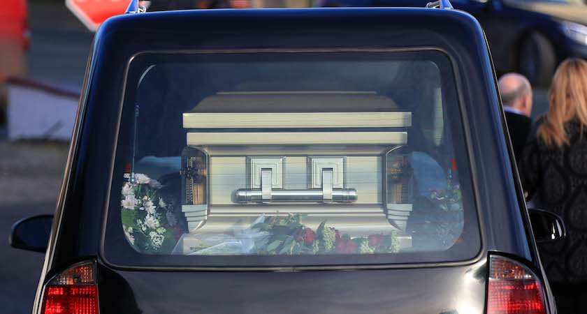 10/01/17 The remains pictured at St Moling's Church, Glynn, Co Carlow this afternoon at the funeral of Eilish Flatley, mother of Michael Flatley...Picture Colin Keegan, Collins Dublin.