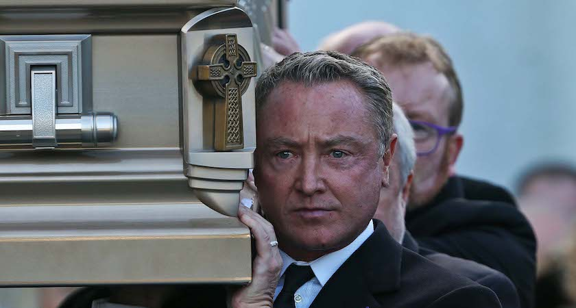 10/01/17 Michael Flatley carries the remains of his mother pictured at St Moling's Church, Glynn, Co Carlow this afternoon at the funeral of Elizabeth Flatley, mother of Michael Flatley...Picture Colin Keegan, Collins Dublin.