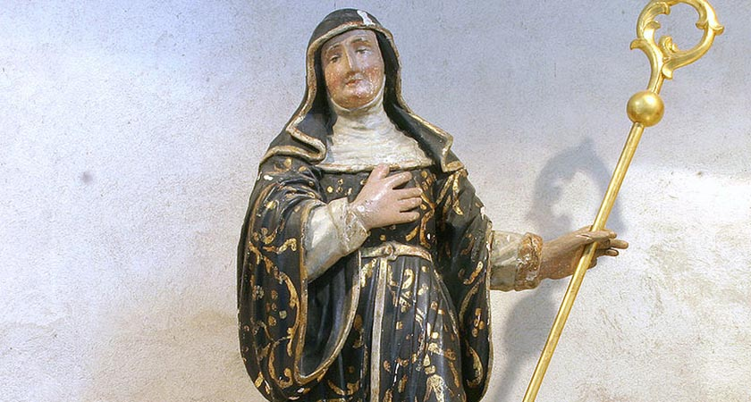 A statue of St Brigid in St Martin's, Cologne [Picture: Elke Wetzig, public domain)