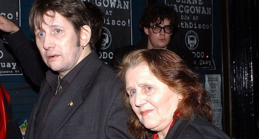"DUBLIN, IRELAND - MARCH 14: Irish Trad Singer Shane MacGowan arrives with mother ""Death Disco"" in Voodoo Bar March 14, 2003 in Dublin, Ireland. (Photo by ShowBizIreland.com/Getty Images)"