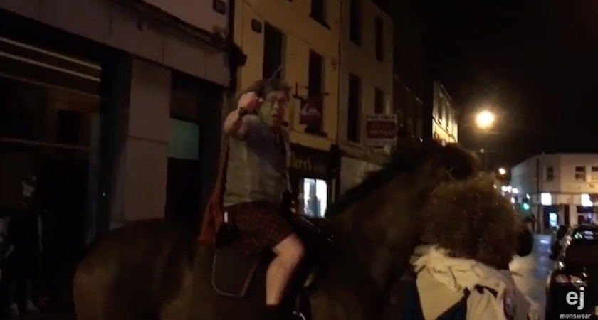 Eamonn takes to the streets on his horse