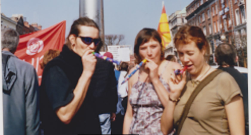 British spy Mark Kennedy in Dublin with Kim Bryan and Sarah Hampton in 2005. Picture: Shell to Sea/Terence Conway