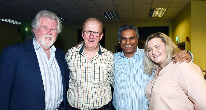 Kevin with friends from the Safe Start Foundation, Andy Rogers, Mahesh Singadia and Jean Coffey