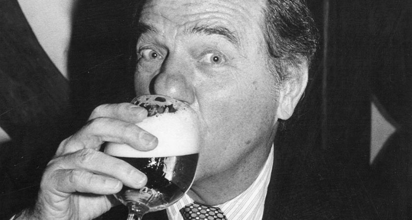 Karl Malden enjoying a swift half pint after his endeavurs On The Waterfront (Picture: Keystone/Getty Images)