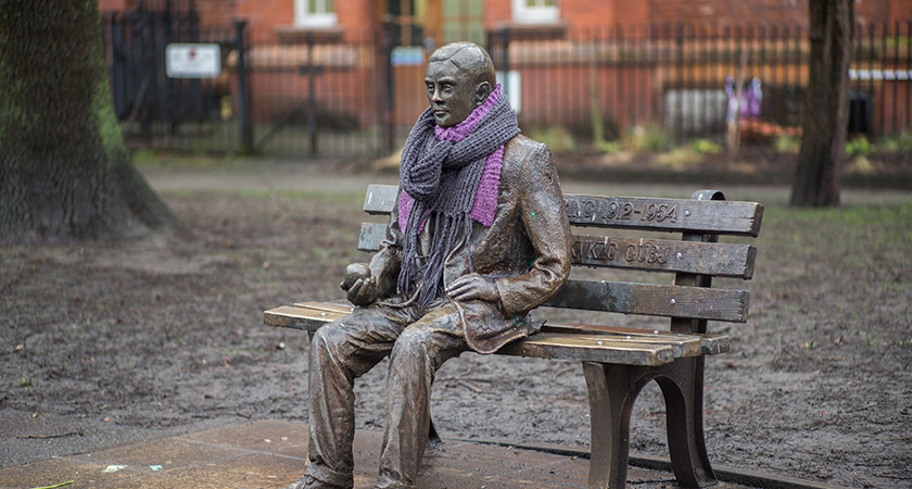 A statue of Alan Turing sits in Manchester's Gay Village. Picture: Christopher Furlong/Getty