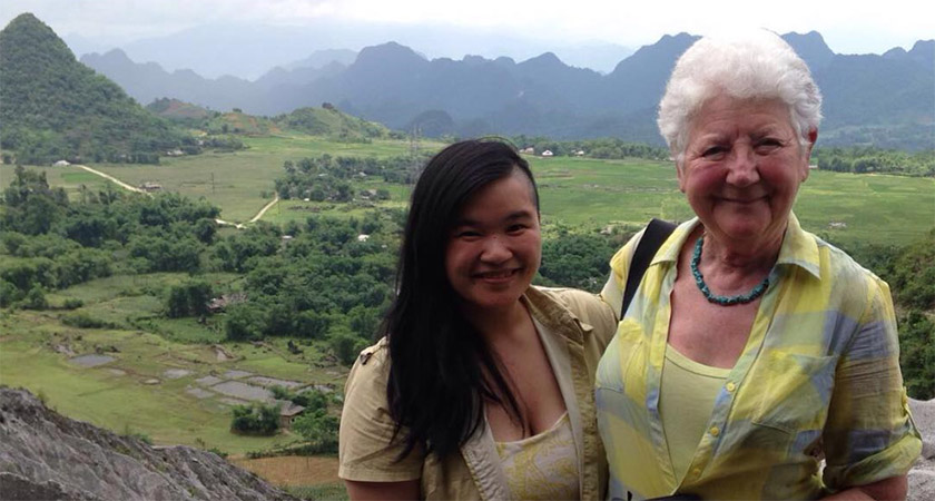 Una runs the blog 'Before My Mam Dies' and is seen here with her mother in Vietnam. Picture: Úna-Minh Caomhánach
