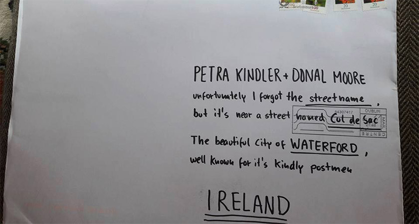 A postman in Waterford somehow delivered this letter. Picture: Facebook