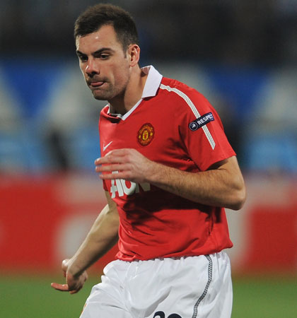 Gibson playing for Manchester United in the last 16 of the Champions League against Marseille in 2011 (Image: Getty/Michael Regan)