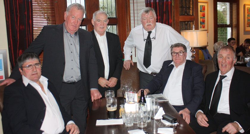 Some of Joe's many friends who made the trip for his funeral included Mick Lyons, Jim Ryan, Larry Moore, Con Cunningham, Eamon Lacey and Louis Moloney (Image: Larry Cooney)