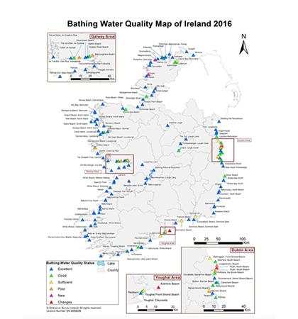 Map Of Ireland Beaches.Six Beaches In Two Irish Counties Fail To Meet Minimum