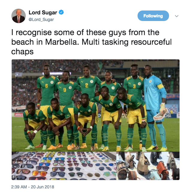Lord Sugar under fire over 'racist' Senegal World Cup team tweet