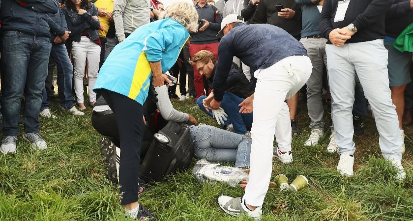 One in eye as Brooks Koepka hits Ryder Cup fan