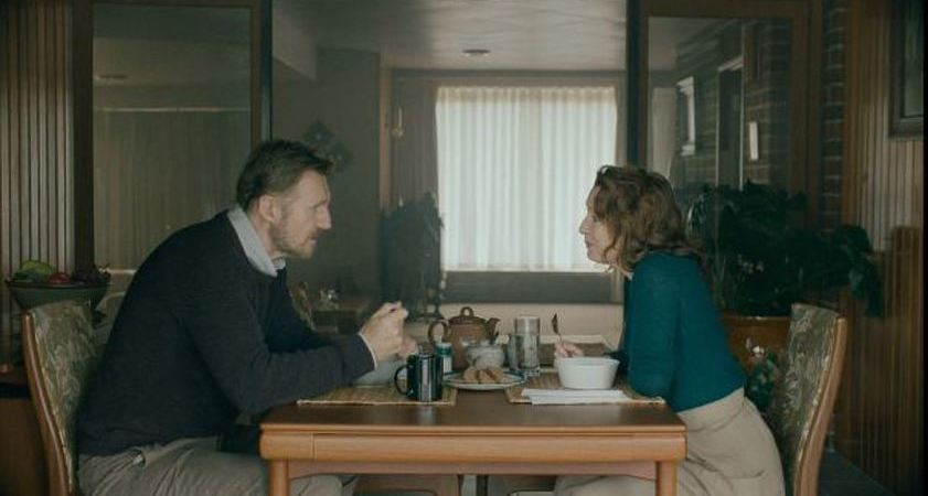 Liam Neeson and Lesley Manville in Normal People.