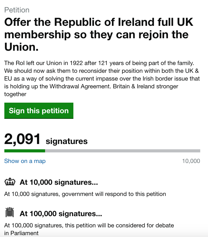 Thousands sign petition offering Ireland the chance to join the UK.