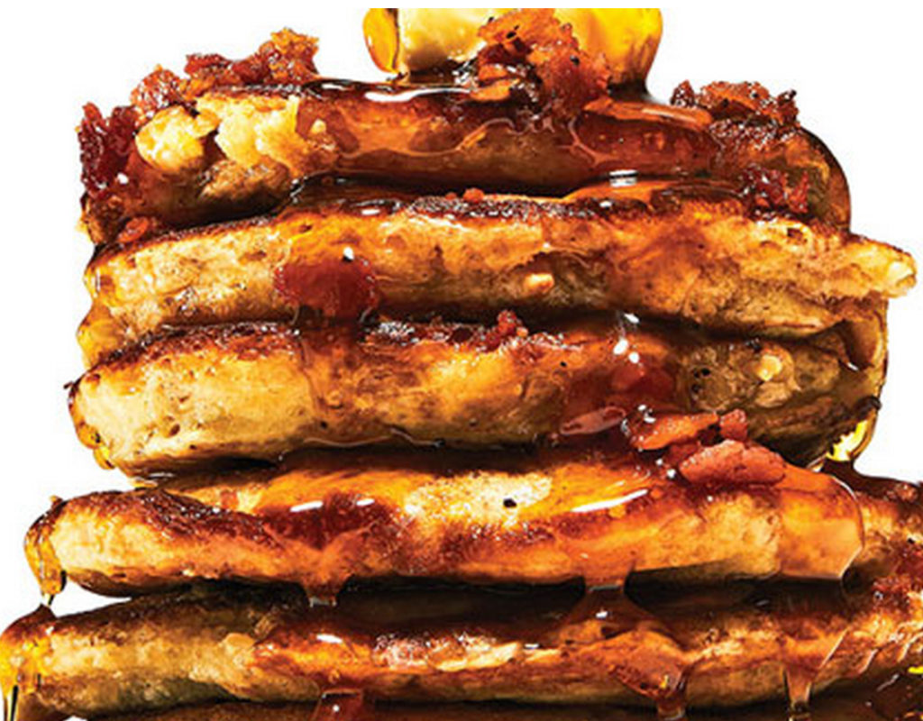 Jameson whiskey bacon maple syrup pancakes offer an Irish twist on an established classic.