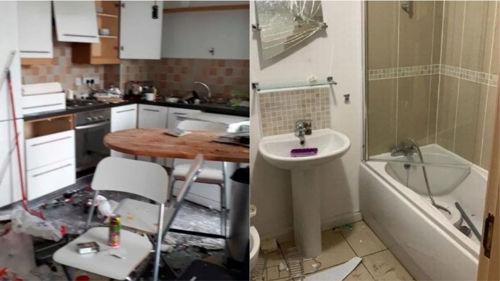 Belfast rental flat decimated by vandals at unauthorised party organised on social media.