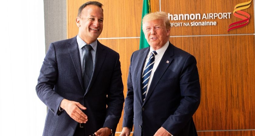 Donald Trump likens Irish border issue to wall between US and Mexico during visit.