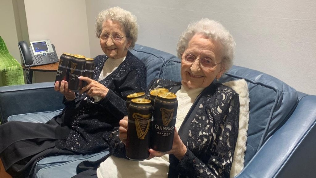 95-year-old twins reveal secret behind their longevity: 'no sex and plenty of Guinness'.