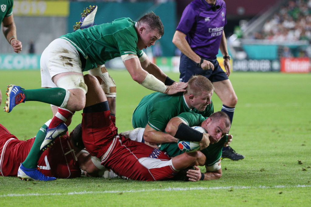 Rhys Ruddock of Ireland drives over to score his sides third try during the Rugby World Cup 2019 Group A game between Ireland and Russia