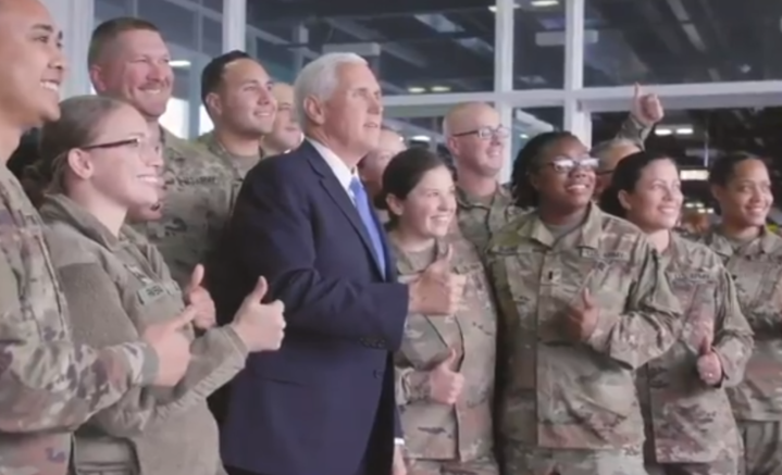 US Vice President Mike Pence meets with US troops at Shannon Airport