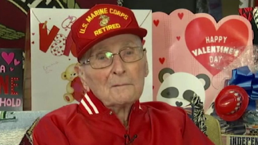 104-year-old World War II hero who asked public for Valentine's Day cards gets over 300,000 responses