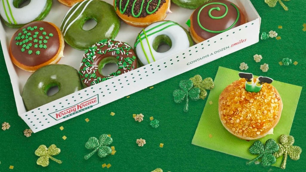 Krispy Kreme is turning all of its donuts green for St Patrick's Day.