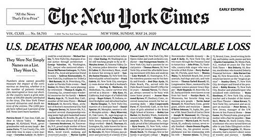 'An Incalculable Loss' - New York Times pays tribute to COVID-19 victims with powerful front page
