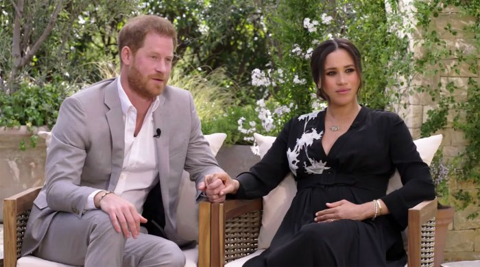 Prince Harry and Meghan Markle being interviewed by Oprah Winfrey.