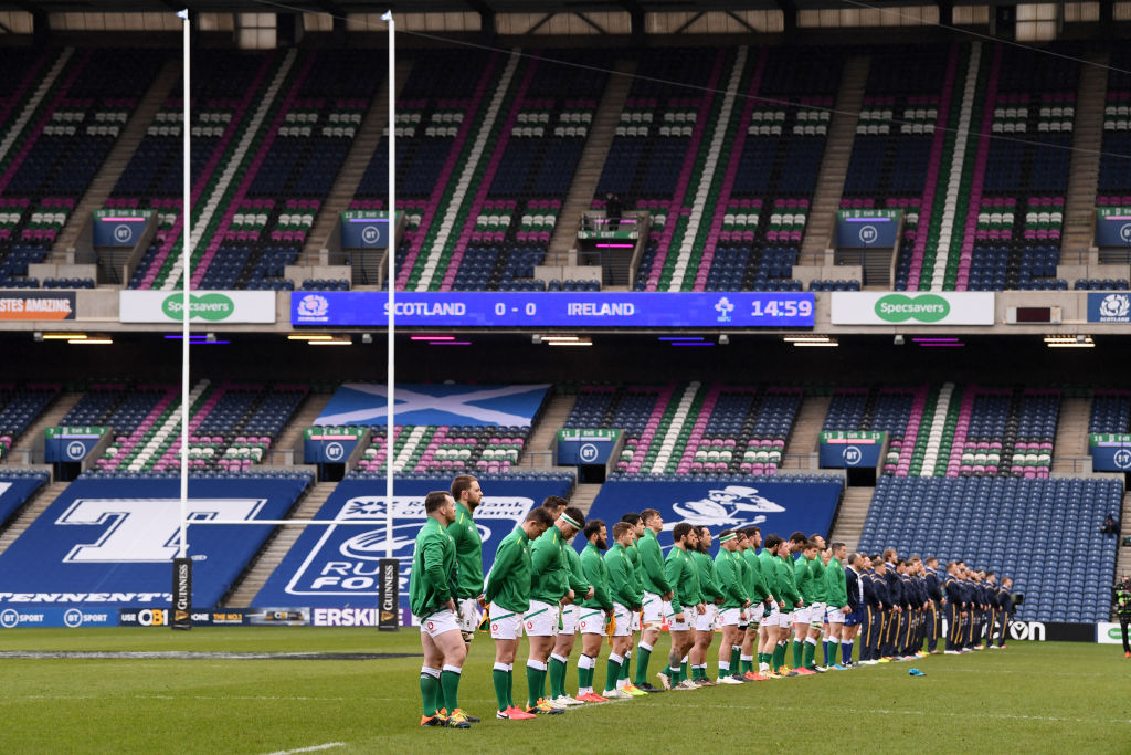 Both teams line up for the National Anthems prior to the Guinness Six Nations match between Scotland and Ireland at Murrayfield on March 14, 2021 in Edinburgh, Scotland. Sporting stadiums around the UK remain under strict restrictions due to the Coronavirus Pandemic as Government social distancing laws prohibit fans inside venues resulting in games being played behind closed doors.